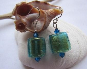 Aquamarine and Gold Flecked Medium Dangling Earrings, Blue Artisan Handmade Earrings - Handmade Sterling Silver Earrings