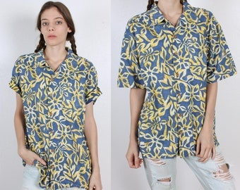 90s Hawaiian Shirt Ocean Pacific // Vintage Wooden Button Collared Top Mens Womens - Large to Extra Large xl
