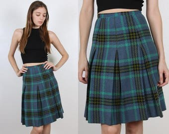 Vintage Plaid Skirt // 60s High Waist Belted Wool A Line Pleated Schoolgirl - Extra Small xs