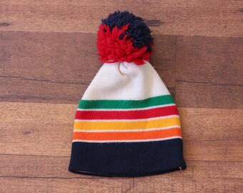 70s Striped Hat // Vintage Wool Cap Winter Striped Pom Pom Colorful Woolen