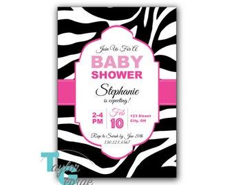 Baby Shower Invitation - Zebra print baby shower invite / Zebra pink shower invite - 4x6 or 5x7 with Registry Cards (Digital File)