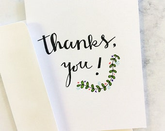 Thanks, You! Greeting Card, Hand Drawn, Thank you card, Greenery card, Modern thank you card