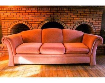 Blush Pink Velour Stratford Sofa // Hollywood Regency