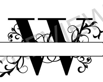 Split Monogram SVG, Letter W Regal Split Alphabet, Vector Files for Silhouette,  Silhouette Studio, PNG file, Ready to Cut, Cricut