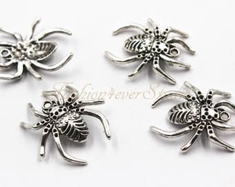 8pcs Oxidized Silver Tone Base Metal Spider Charm 25mmx28mm, Silver Charms, Jewelry Findings, Beading Suppliers, Jewelry Suppliers
