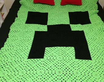 Minecraft Creeper Blanket and TNT Pillow Set