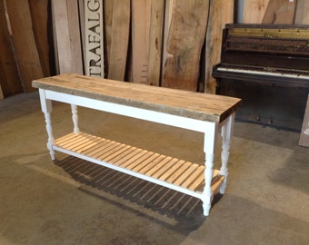 Farm house table rustic reclaimed pine console table chunky boot room style London