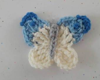 Crochet butterfly brooch | Butterfly | blue & white | gift for her | Birthday