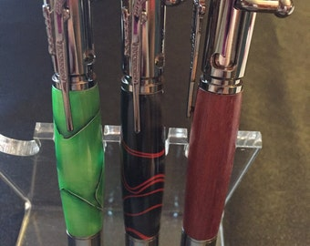 Hand-turned bolt action pens
