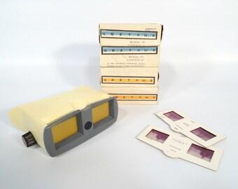 Vintage 3D Slide Viewer / Portable Vintage Stereoscope / Soviet Sterescope 3 / Vintage Slide Projector With Four Different Boxes of Slides