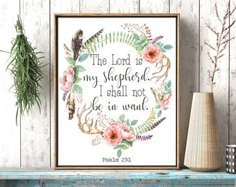 The Lord is my shepherd Psalm 23:1 Bible verse, art printable Scripture, wall art decor Watercolor Christian Bible verse printable, download