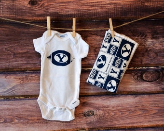 BYU baby gift set, BYU Onesie, BYU Burp Cloth, byu onesie and burp cloth, byu baby, byu graduation gift, brigham young baby gift