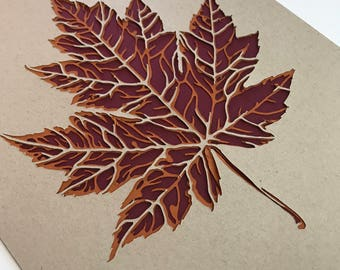 Maple Leaf Papercut Art Print 8x10