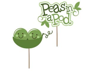 Twins Cupcake Topper, peas in a pod cupcake topper, baby shower cupcake topper, peas in a pod picks, twin picks, baby cupcake topper,