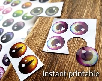 NATURAL Blythe Eyechip Printable - DIY Natural Series 1 eye chips for Blythe dolls