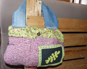 In wool, fabric and recycled jean handbag