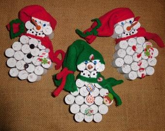 Adorable Wine Cork Snowmen ~ Set of 3