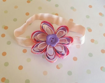 grosgrain flower button headband, flower headband, Flower girl, Flower ribbon
