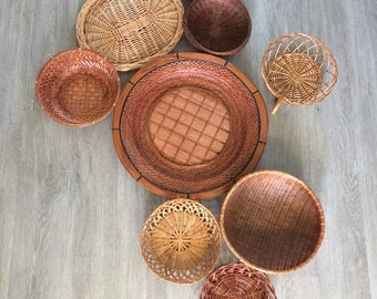 Vintage Set Of 9 Hanging Wall Baskets/Bowls/Rattan Servers