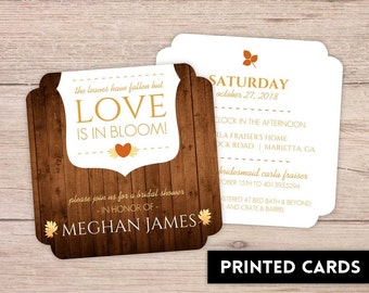 Bridal Shower Invitations, Bridal Shower Invitation, Personalized, Shower Invites, rustic fall leaves