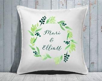 Custom Decorative Pillow   Throw Pillow   Custom Pillow   20 x 20 Pillow Cover   Custom Pillow Cover   Personalized Pillow   Wreath