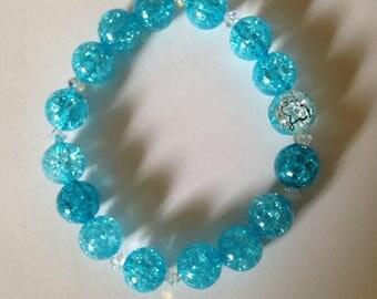 Turquoise Blue Beaded Bracelet.