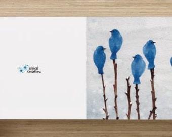 "Watercolor Painting Card - Blue Birds in Winter (blank inside, 4 x 4"")"