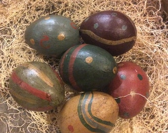 Primitive Painted Eggs Set of 6