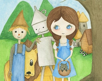 Wizard of Oz art print - watercolour childrens painting