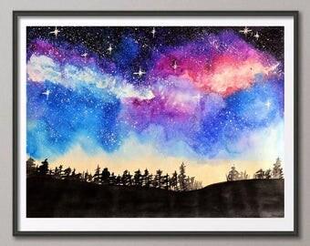 Printable Watercolor painting Starry night Nebula Night sky painting Space art Galaxy print Night landscape Watercolor space Sky painting
