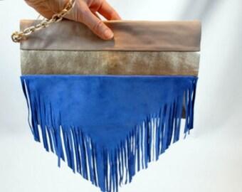 Leather handbag suede fringed wrist
