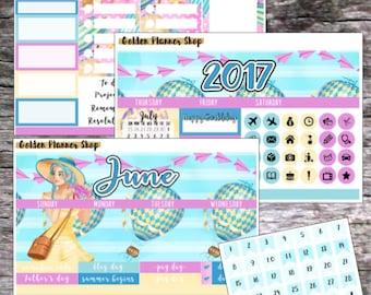 50% OFF! June Monthly Kit 2017, Monthly Planner Stickers for Erin Condren Vertical Planner