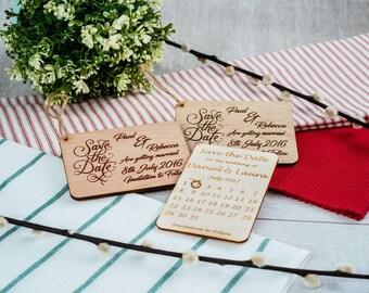 Wood Save the date engraved in oak or cherry veneer magnet