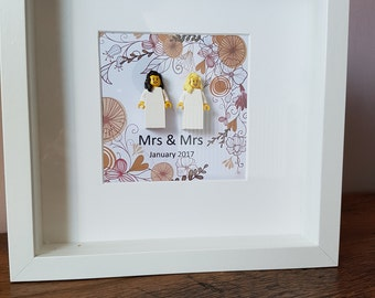 Custom Made Gift for Newly Weds//Wedding//Brides//Grooms//Minifigure//Gift//Anniversary//Love//Couple//Shadow Box Frame//Personalise//Lego