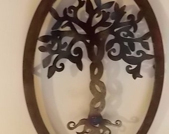 Handcrafted Oval Metal Tree of Life Wall Art Hanging Artwork Home Decor and Decoration