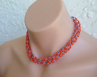 Vintage necklace African jewellery Statement necklace Tribal necklace Orange necklace Hippie Choker necklace Boho Hollow Out