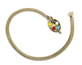 Vintage Multicolored Enamel Artist Palette Pendant Necklace NC 688