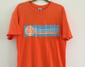 Large Size SARCASTIC T-shirts Orange Colour