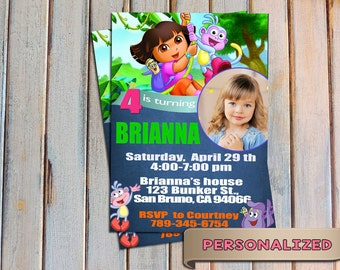 SALE 20% Dora the Explorer Invitation, Dora the Explorer Invite, Dora card, Personalized, Printable, Digital Invitation, Thank you card free