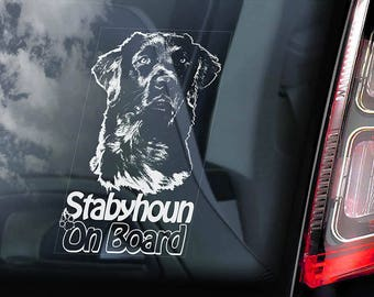 Stabyhoun on Board - Car Window Sticker - Stabij Beike Dog Sign Decal - V01