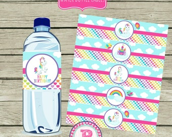 Unicorn & Rainbows Birthday Party Drink Wraps Bottle Labels Pink Magical Pony Clouds Hearts