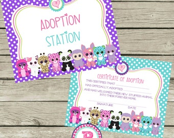 Pet Adoption Certificate Adopt a Pet Birthday Party Ideas Polka Dot Adoption Station Stuffed Animal Panda Kitten Puppy Unicorn Pet Shop Zoo