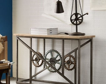 Evoke iron/wooden industrial console table with wheels - Amazing design