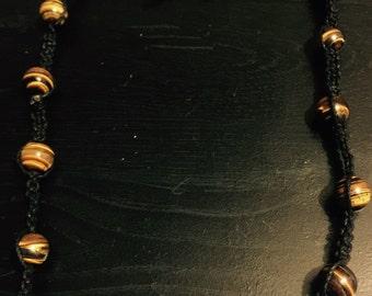 Hand Made Necklace - Tiger Eye and Black Onyx gemstones - Anniversary Gift - Wedding Gift - Christmas Gift - Birthday Gift