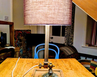 Upcycled Victorian brass table lamp