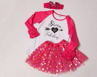7th birthday outfit for girls, seven ruffle polka dot birthday tutu with bow or party hat