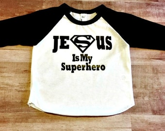 Baby Shower Gift, Raglan Baseball shirt, 3/4 shirt, Jesus is my Superhero, Onesie, T-Shirt, Boys, Girls, Toddler, Baby, Cool Fun Shirt