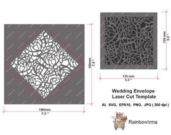 Wedding Envelope Laser Cut Template.Floral pattern for Christening, Baby Showers, Invitations, Birthdays, Weddings.