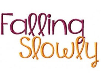 Falling Slowly Font Machine Embroidery Monogramming Font Set  Instant Digital download