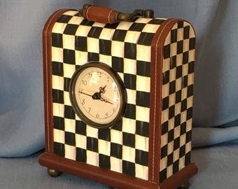 Checkered Black and White Hand Painted Clock